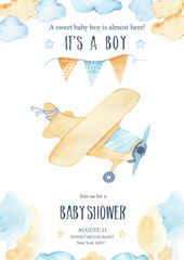 Watercolor its baby boy shower with cute airplane orange plane garland and clouds trees