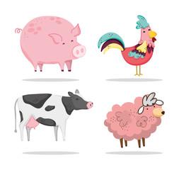 Set of farm animals cartoons