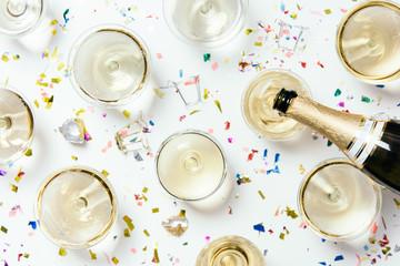 Champagne and confetti
