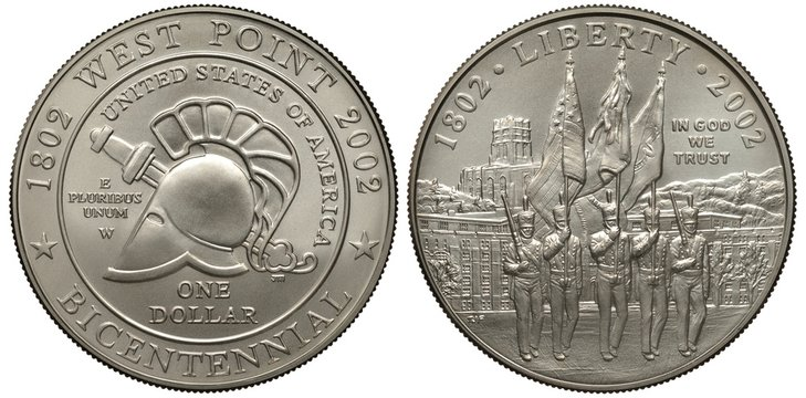 United States silver coin 1 one dollar 2002, bicentennial of West Point Academy, antic Greek helmet and sword, military parade, soldiers carrying flags, building behind,