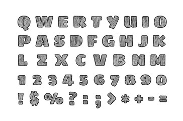 Hand drawn style font. Letters and digits vector clipart