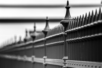Metal fence with sharp tips