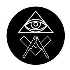 Masonic eye symbol in black circle - all seeing eye