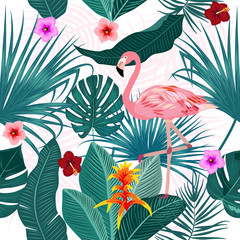 Tropical leaves, flamingo and flowers vector seamless pattern