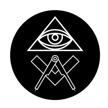 Masonic eye symbol in black circle - all seeing eye
