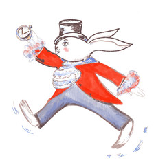 Running white rabbit in hat, red coat, with clock in his hand in style of Alice of Wonderland personage. Nice decor for kids room interior, posters, party, design, covers, t shirts, invitations cards