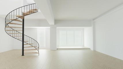 3d render white clear room curve stair