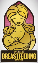Stained Glass of Mother and her Baby for Breastfeeding Week, Vector Illustration