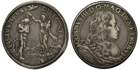 Italian State Toscana silver coin 1 one piaster 1680, scene baptizing of Christ, bust of Cosimo III right, Fototapete