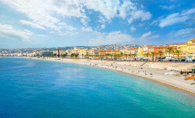 Beach and seafront in Nice. Cote D'Azur, France