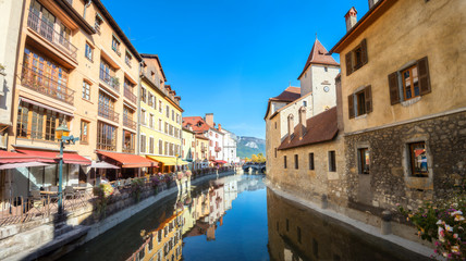 Thiou canal and  Palais de l'Isle in old town of Annecy. France