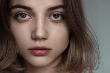 portrait of a beautiful sensual blonde close-up