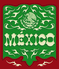 Traditional Mexico sign western style, mexican poster, card with Mexican flag colors