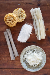 Variety of asian noodles from overhead