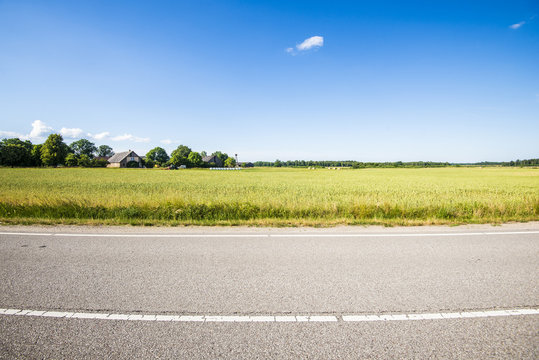 A view of the asphalt road through the country agricultural fields on a sunny summer day, Latvia