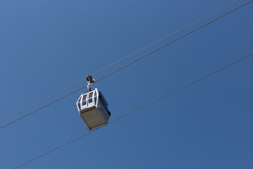 cableway on a blue sky background