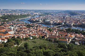 Scenic overview of the city of Prague with the Vltava River, Czech Republic