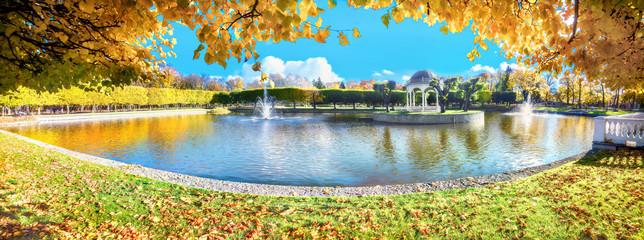 Park Kadriorg with beautiful pond at golden autumn. Tallinn, Estonia
