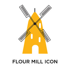 Flour mill icon vector sign and symbol isolated on white background, Flour mill logo concept