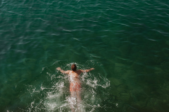 Man swimming in the sea