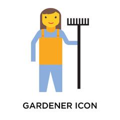 Gardener icon vector sign and symbol isolated on white background, Gardener logo concept