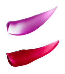 Close-up of Purple and Red Lip Gloss Smeared on White Background