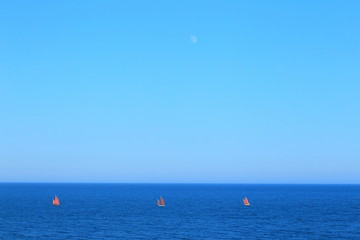 Red sailing boats on the sea with moon in background