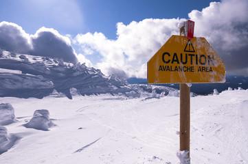 Caution sign on Big White Mountain, Kelowna, British Columbia, Canada
