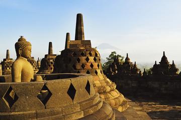 Borobodur with Mount Merapi in the distance, Kedu Plain, Java, Indonesia