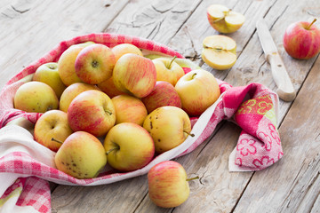 Red fresh apples from garden on wooden background