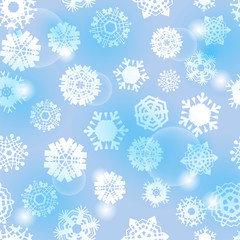 Bright Blue Seamless Background with Snowflakes