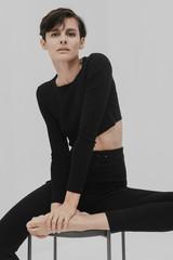 Portrait of beautiful female in black.