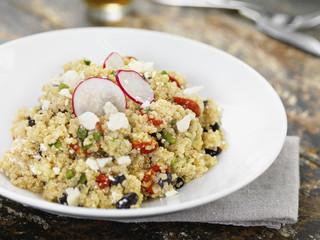 Lentil and Quinoa Salad with Radish Garnish, Studio Shot