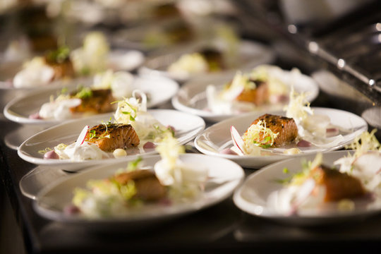 Salmon Dinners ready to be Served at Wedding Reception
