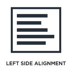 Left side alignment icon vector sign and symbol isolated on white background, Left side alignment logo concept