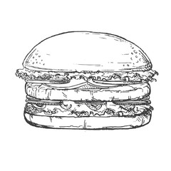 Hand drawn illustration of hamburger.Sketch.