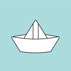 Paper boat isolated. ship made of paper children toy. Vector illustration