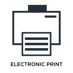 Electronic print machine icon vector sign and symbol isolated on white background, Electronic print machine logo concept