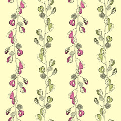 Seamless floral pattern. Hand drawn grahic.