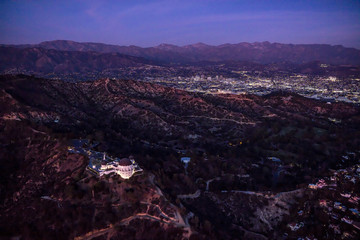 Aerial View of Griffith Observatory at Dusk with Los Angeles in the background, California, USA