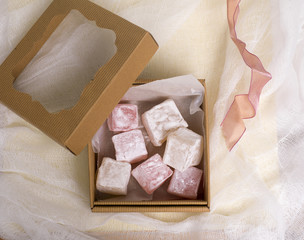 Overhead View of Open Gift Box of Turkish Delight with Ribbon