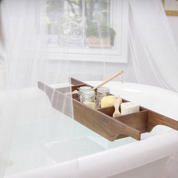 Bath Caddy on Bathtub Filled with Bath Items