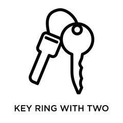 Key ring with two keys icon vector sign and symbol isolated on white background, Key ring with two keys logo concept