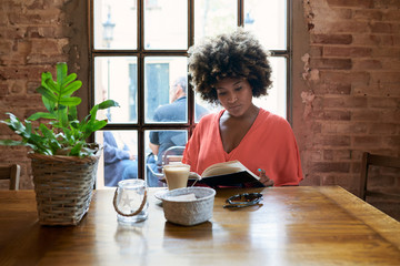 Portrait of attractive woman in red reading book with cup of coffee in cafe.