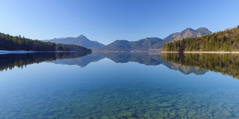 Mountain Landscape Reflected in Lake Walchensee, Kochel am See, Upper Bavaria, Bavaria, Germany