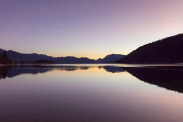 Mountain Landscape Reflected in Lake Walchensee at Dawn, Kochel am See, Upper Bavaria, Bavaria, Germany