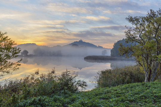 Landscape at Sunrise with Wachsenburg Castle and Lake in Morning Mist, Drei Gleichen, Ilm District, Thuringia, Germany