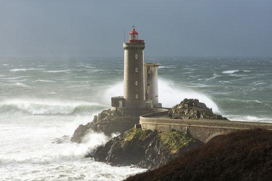 Phare Petit Minou lighthouse during a storm, Finistere, Bretagne