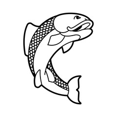 Carp japan fish isolated. folk asian koi vector illustration