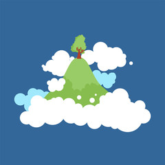 Flying Island in clouds in sky. Vector illustration